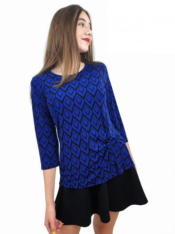 Women's blouse with 7/8 sleeve and a fancy knot in blue and black