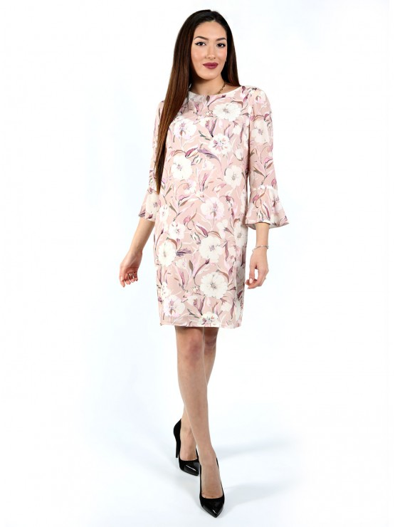 Women's dress with 3/4 sleeves and color print