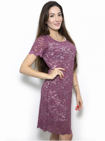 Elastic lace dress in dewberry color