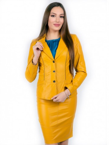 Womens jacket from eco leather in mustard