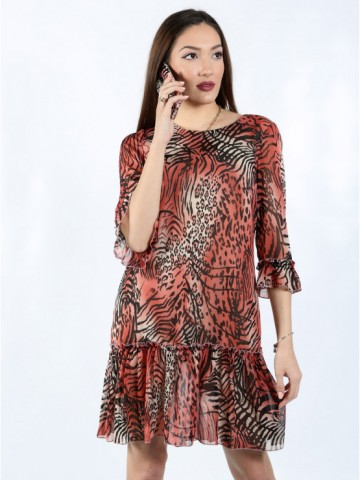 Womens dress with sleeves 7/8 with animal pattern
