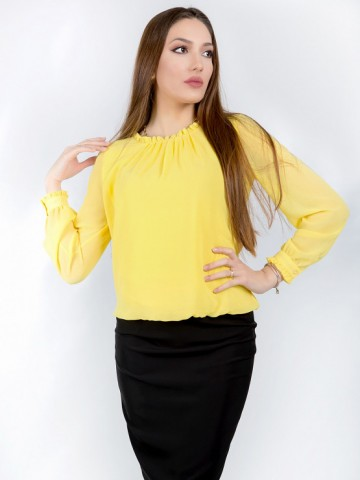 Yellow women's long sleeve chiffon shirt
