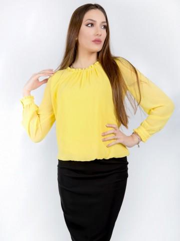 Yellow women's long sleeve chiffon shirt